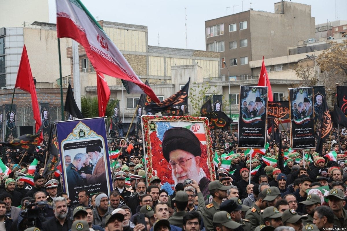 Iranians take part in an anti-US rally to protest the killing of Iranian Revolutionary Guards' Quds Force commander Qasem Soleimani by a US airstrike in the Iraqi capital Baghdad, at Palestine Square in the capital Tehran, Iran on 4 January 2020. [Fatemeh Bahrami - Anadolu Agency]