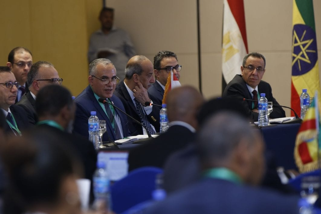 Representatives of Egypt, Sudan and Ethiopia meet to negotiate on the filling and operation of the Great Ethiopian Renaissance Dam (GERD) project in Addis Ababa, Ethiopia on 8 January 2020. [Mınasse Wondımu Haılu - Anadolu Agency]