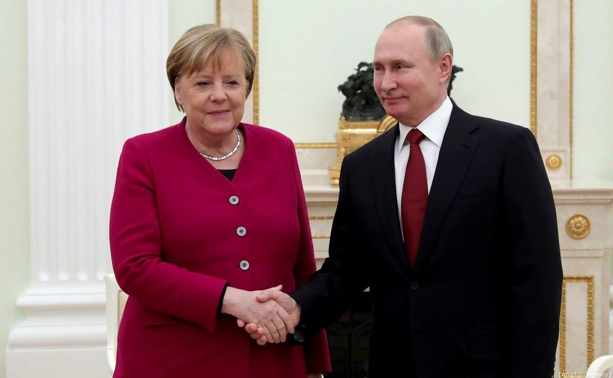 Russian President, Vladimir Putin (R) meets German Chancellor, Angela Merkel (L) in Moscow, Russia on 11 January 2020. [Kremlin Press Office / Handout - Anadolu Agency]