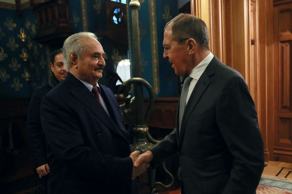 Russian Foreign Minister Sergey Lavrov (R) meets with Khalifa Haftar eastern Libya-based military commander at the Russian Foreign Ministry's Reception House in Moscow, Russia on 13 January 2020. [Russian Foreign Ministry / Handout - Anadolu Agency]