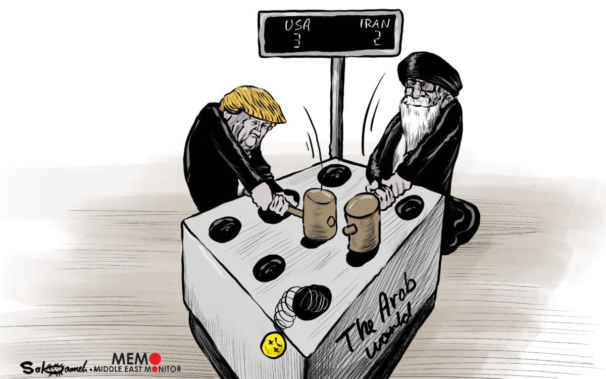 US vs Iran, who's going to win the war of influence - Cartoon [Sabaaneh/MiddleEastMonitor]