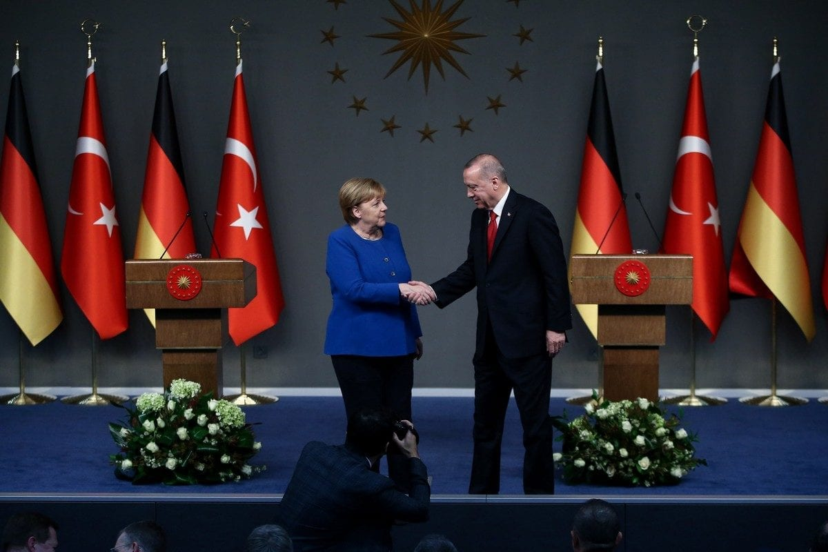 President of Turkey, Recep Tayyip Erdogan (R) and German Chancellor Angela Merkel (L) in Istanbul, Turkey on 24 January 2020 [Arif Hüdaverdi Yaman/Anadolu Agency]