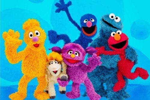 """Sesame Workshop's new show """"Ahlan Simsim"""" will feature, from left, Jad, Ma'zooza, Basma, Grover, Cookie Monster and Elmo for the Arabic TV program that will focus on helping Syrian refugees [Twitter]"""