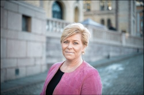 Siv Jensen, Progress leader and Norway's finance minister