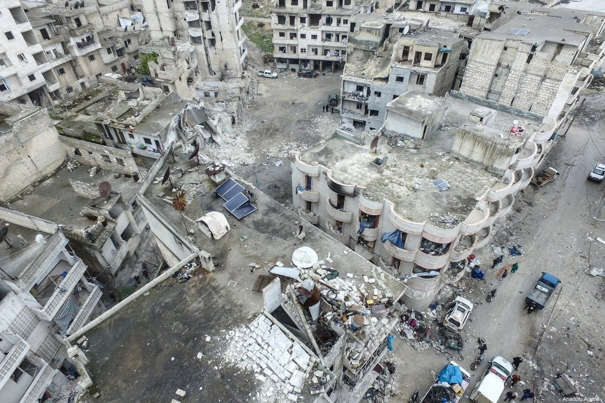 A drone photo shows collapsed and damaged buildings after Russian warplanes hit residential areas in Idlib, Syria on 30 January 2020 [İzzeddin İdilbi/Anadolu Agency]