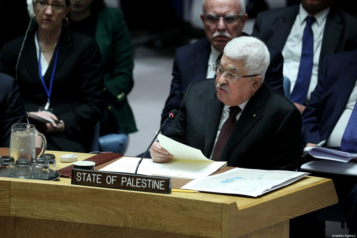Palestinian President, Mahmoud Abbas speaks during the UN Security Council meeting about the situation in the Middle East, including the Palestinian at United Nations headquarters in New York, United States on February 11, 2020. ( Tayfun Coşkun - Anadolu Agency )