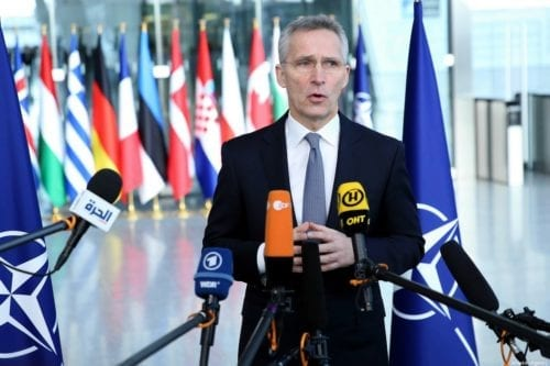 NATO Secretary General Jens Stoltenberg speaks to the press on the agenda of NATO Defense Ministers' Meeting in Brussels, Belgium on 12 February 2020. [Dursun Aydemir - Anadolu Agency]