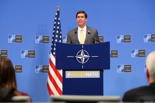 US Secretary of Defense Mark Esper in Brussels, Belgium on February 13, 2020 [Dursun Aydemir/Anadolu Agency]