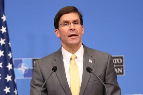 US Secretary of Defense Mark Esper holds a press conference as part of NATO Defense Ministers' Meeting in Brussels, Belgium on February 13, 2020 [Dursun Aydemir/Anadolu Agency]
