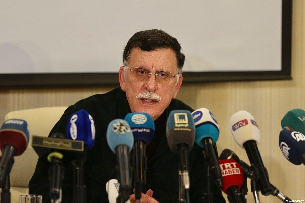 Fayez al-Sarraj, Chairman of the Presidential Council of Libya's Government of National Accord (GNA) holds a press conference in Tripoli, Libya on February 15, 2020 [Hazem Turkia / Anadolu Agency]