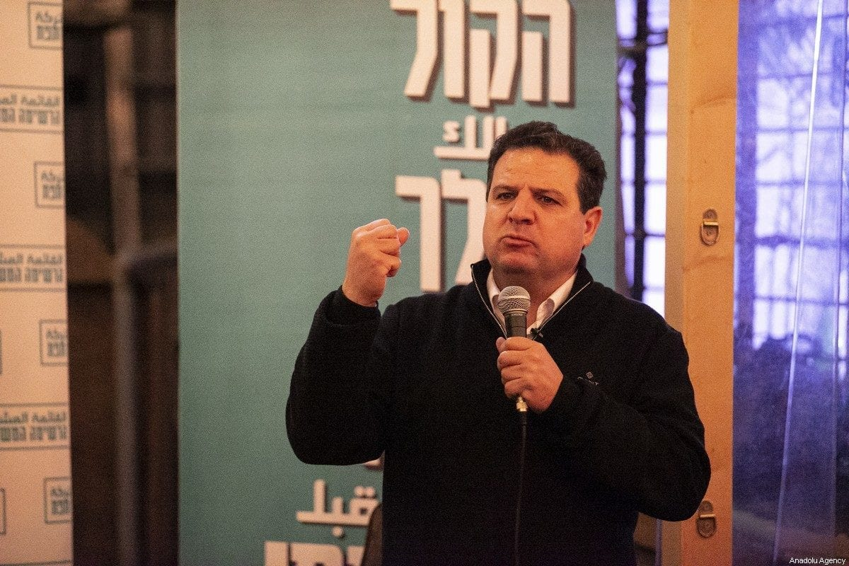 Head of the Joint List, a combined slate of Arab parties Ayman Odeh speaks during his election campaign in Tel Aviv, Israel on February 18, 2020. [Mostafa Alkharouf - Anadolu Agency]