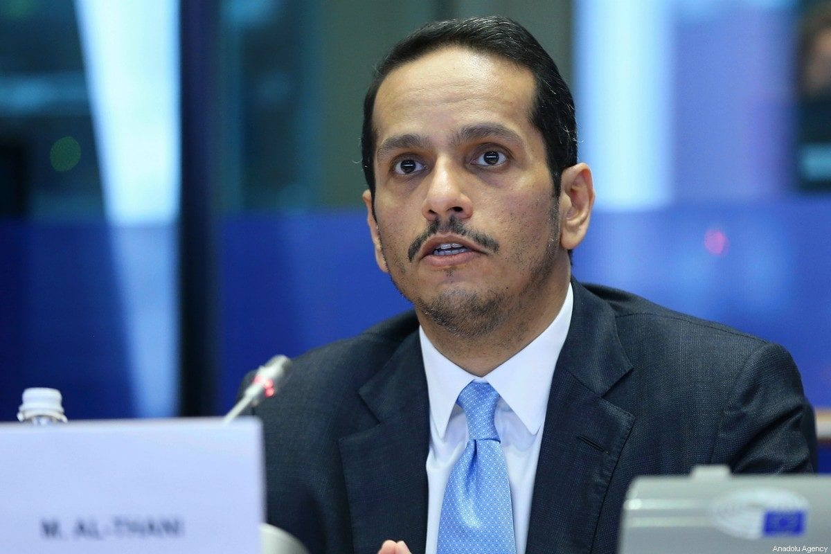 BRUSSELS, BELGIUM - FEBRUARY 19: Minister of Foreign Affairs of Qatar Mohammed bin Abdulrahman bin Jassim Al-Thani delivers his remarks at European Parliament Committee on Foreign Affairs in Brussels, Belgium on February 19, 2020. ( Dursun Aydemir - Anadolu Agency )