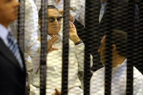 Former President of Egypt Hosni Mubarak is seen during his trial in Cairo, Egypt on 13 April 2013 [Mohammed Hossam/Anadolu Agency]