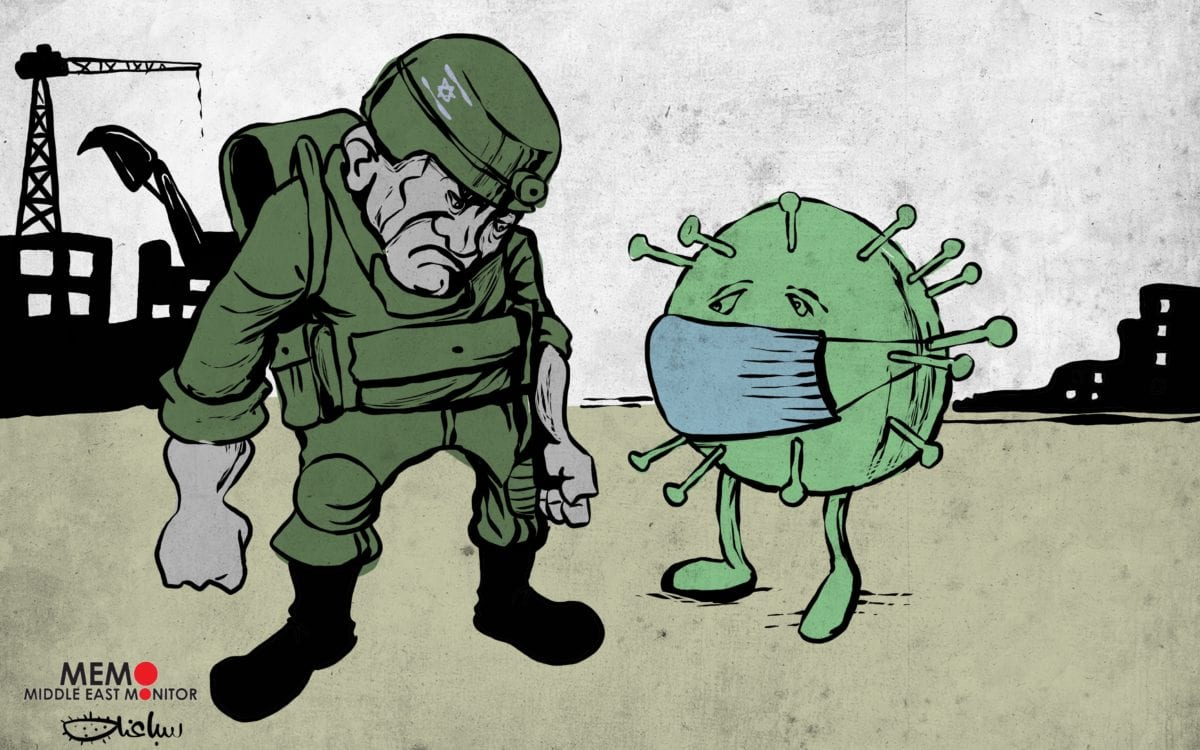 Israel fights with coronavirus fears - Cartoon [Sabaaneh/MiddleEastMonitor]