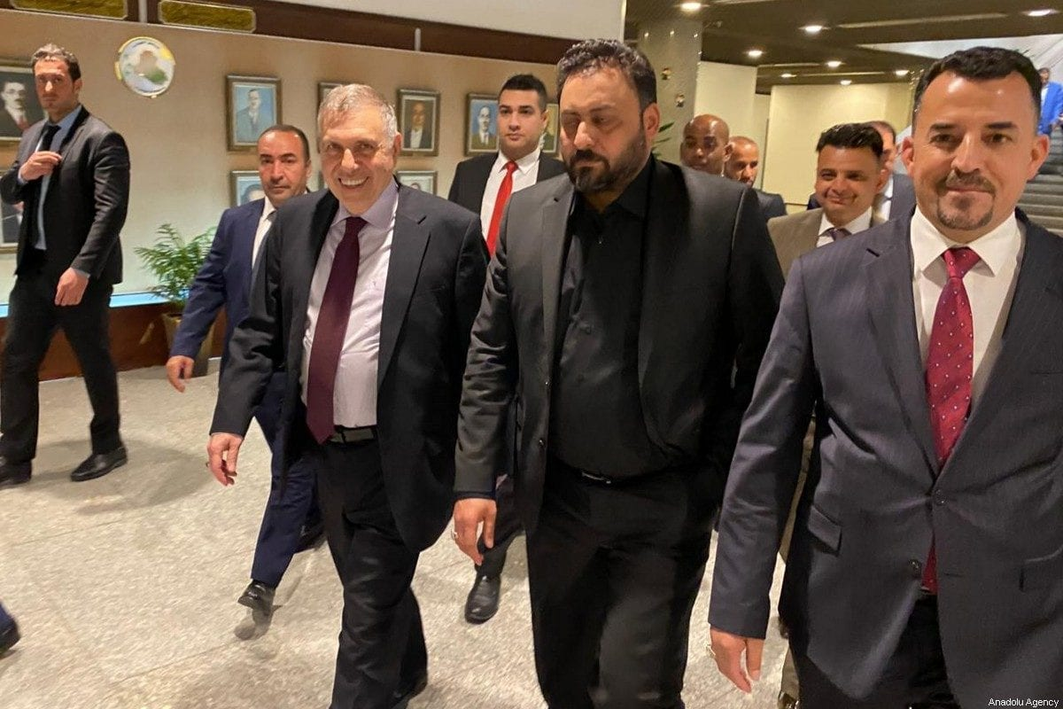 Prime Minister-designate Mohammed Allawi [left] is seen after the Iraqi parliament failed to hold a vote of confidence for the new government of Allawi as a quorum could not be reached in Baghdad, Iraq on February 27, 2020 [Murtadha Al-Sudani / Anadolu Agency]