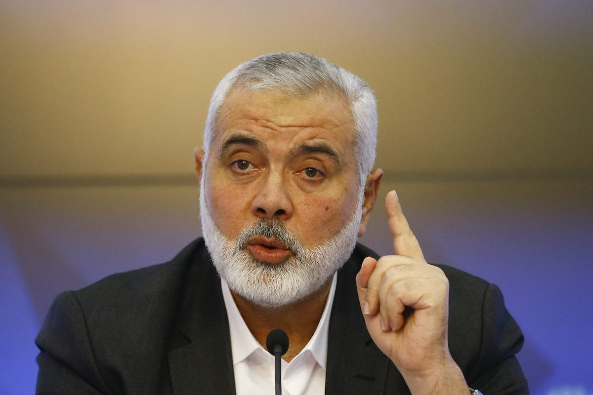 Hamas Political Chief Ismail Haniyeh makes a speech as holds a press conference in Moscow, Russia on 4 March 2020. [Sefa Karacan - Anadolu Agency]