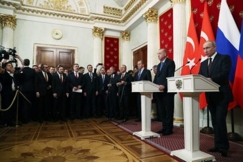 President of Turkey, Recep Tayyip Erdogan (2nd R) and President of Russia, Vladimir Putin (R) hold a joint news conference following their meeting in Moscow, Russia on 5 March 2020. [Turkish Presidency / Murat Cetinmuhurdar / Handout - Anadolu Agency]
