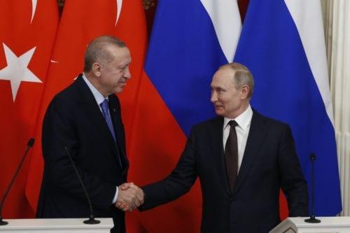 President of Turkey Recep Tayyip Erdogan (L) and President of Russia Vladimir Putin (R) in Moscow, Russia on 5 March 2020 [Sefa Karacan/Anadolu Agency]