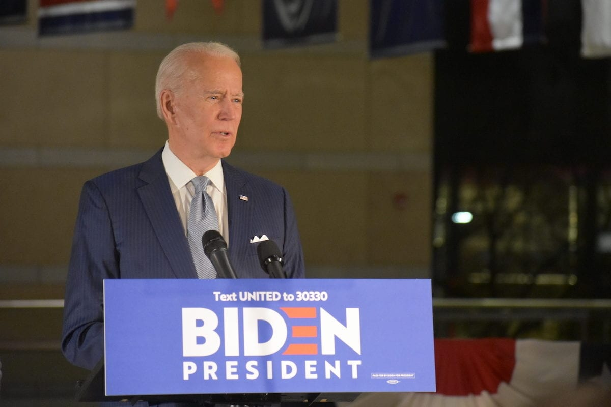 Former US Vice President Joe Biden delivers remarks at the National Constitution Center in Philadelphia, PA, United States on 10 March 2020. [Kyle Mazza - Anadolu Agency]