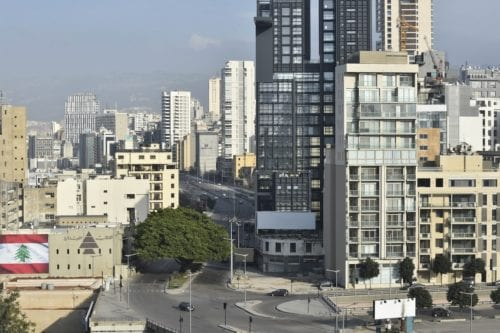 Streets are seen empty after Lebanese Prime Minister Hassan Diab declared a state of emergency Monday due to the novel coronavirus outbreak in Beirut, Lebanon on 16 March 2020. [Hussam Chbaro - Anadolu Agency]
