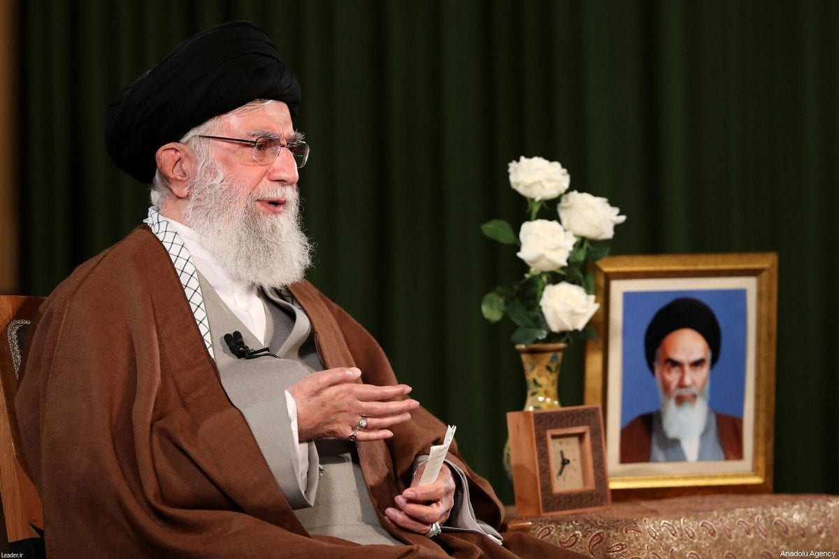 Iranian Supreme Leader Ali Khamenei makes statements regarding coronavirus (COVID-19) on 22 March, 2020 in Tehran, Iran [Iranian Supreme Leader Press Office/Handout/Anadolu Agency]