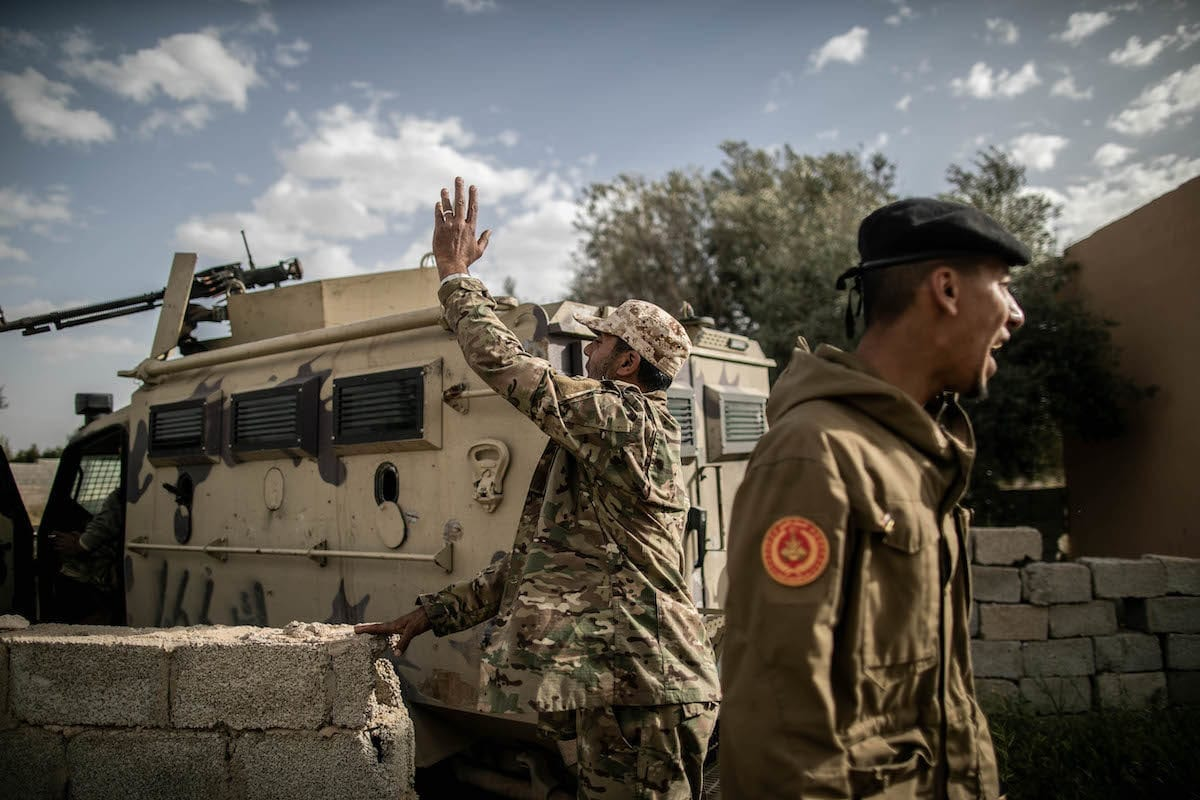 "Libyan Army forces attend ""Operation Peace Storm"" of the Libya's Government of National Accord (GNA) against the forces of warlord Khalifa Haftar in Tripoli, Libya on 27 March, 2020 [Amru Salahuddien/Anadolu Agency]"