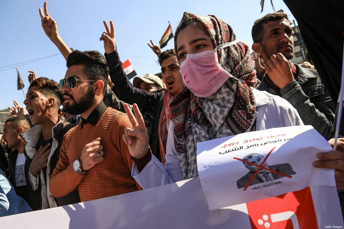 Anti-government protests against the new Iraqi prime minister designate Mohammad Allawi, in Karbala, Iraq on 2 February 2020 [MOHAMMED SAWAF/AFP/Getty Images]