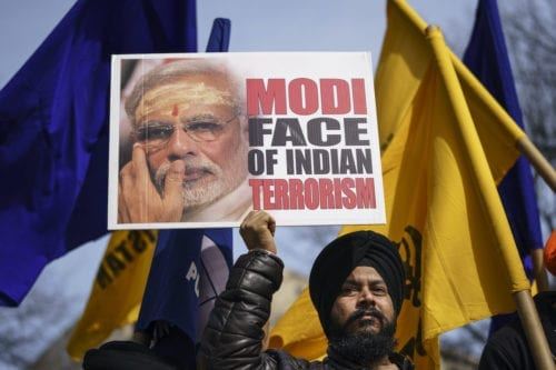 Members of Sikhs For Justice rally against Prime Minister of India Narendra Modi in Lafayette Square across the street from the White House on 18 February 2020 in Washington, DC. [Drew Angerer/Getty Images]