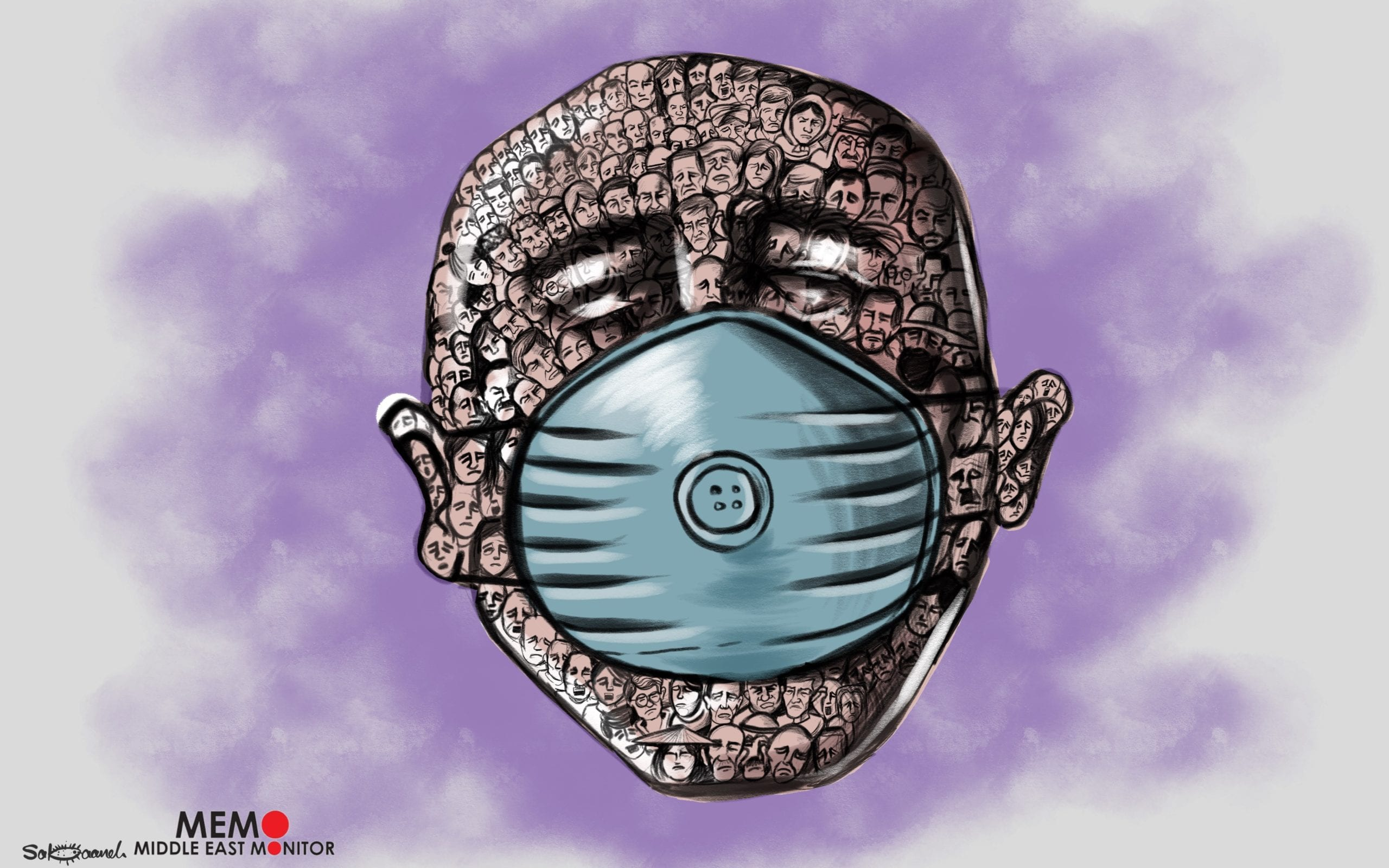 Coronavirus is affecting the whole world, will it unite us - Cartoon [Sabaaneh/MiddleEastMonitor]
