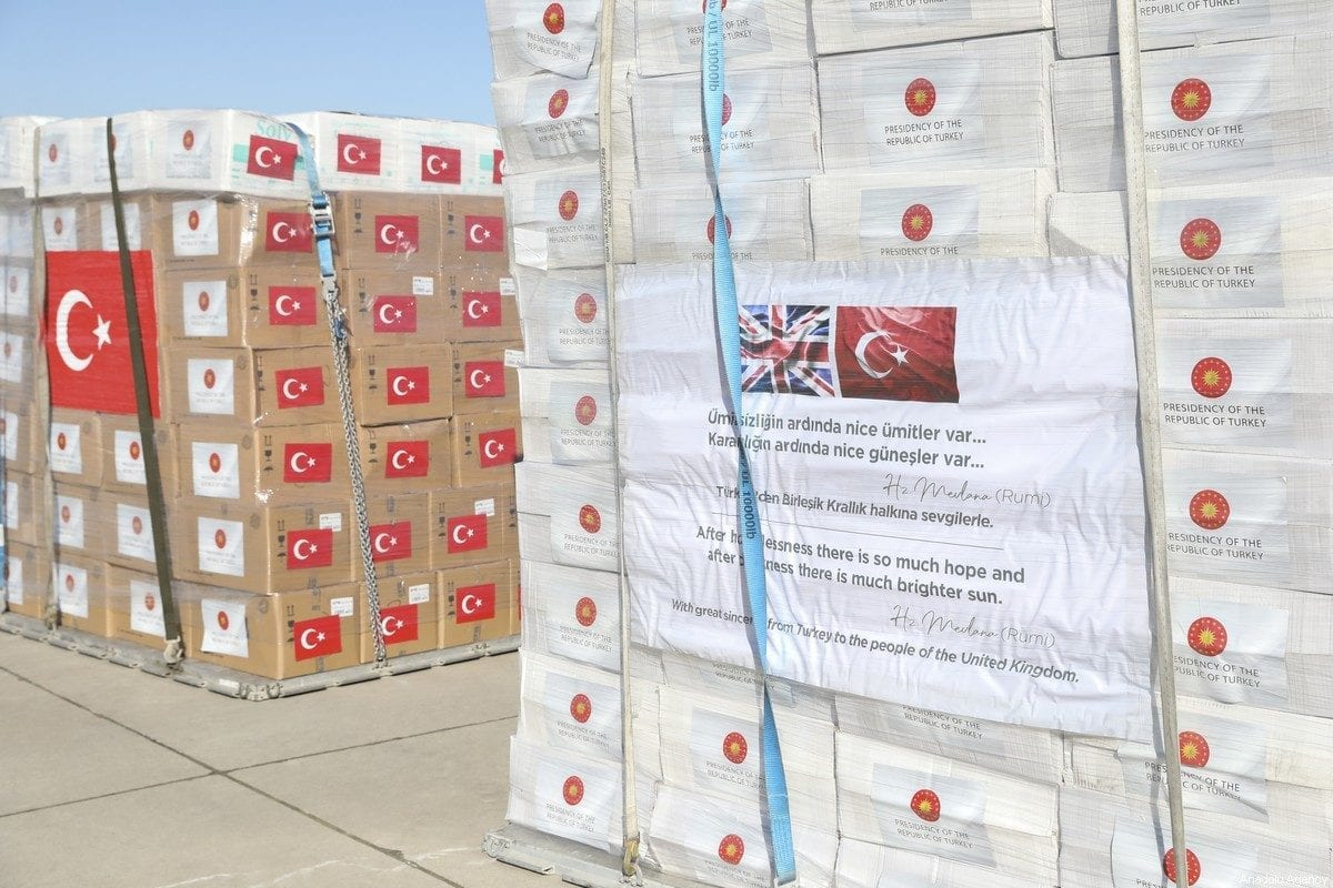Turkey's medical aid packages are being prepared for a military cargo plane, that will deliver them to UK to support the fight against coronavirus (COVID-19) on 10 April 2020 [Hakan Nural/Anadolu Agency]