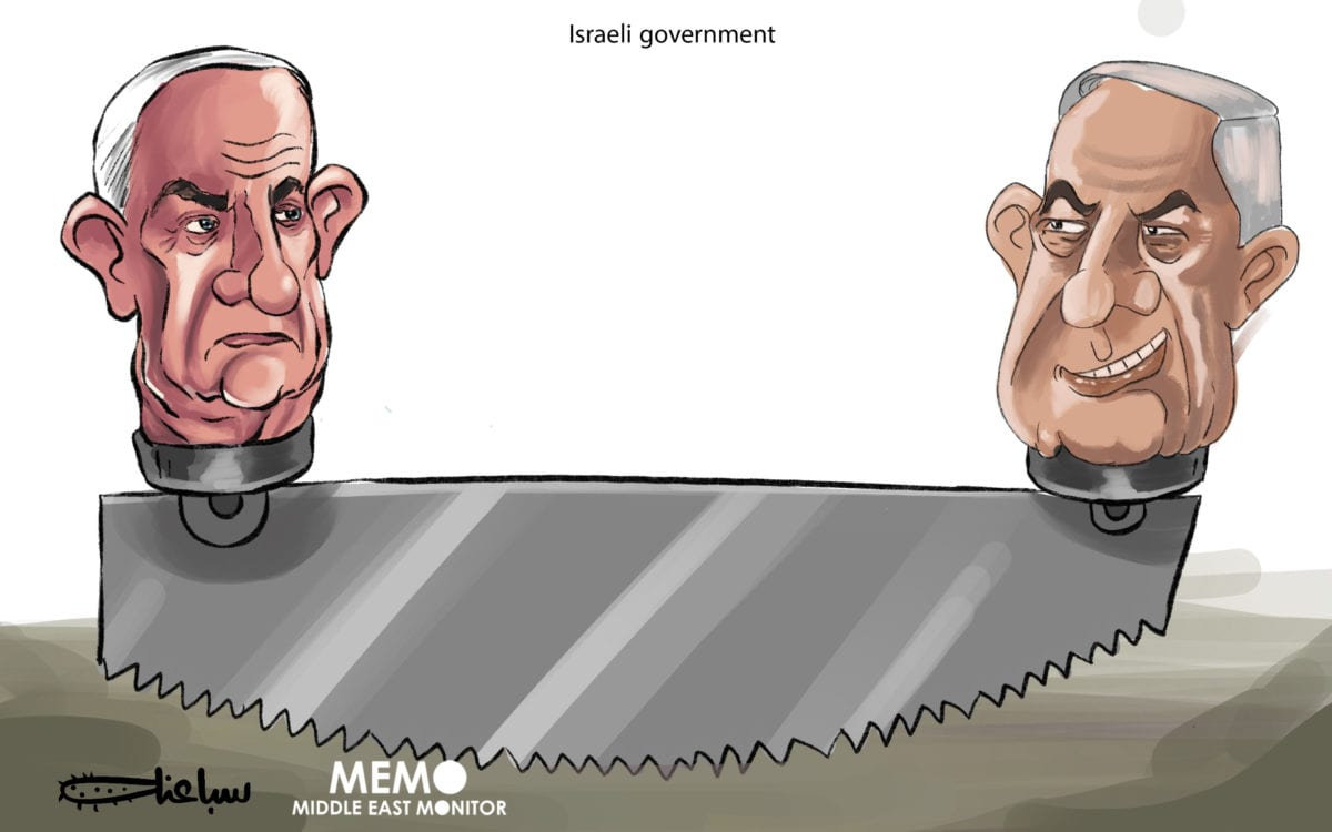 Gantz and Netanyahu: awaiting the consequences of the Israeli government formation - Cartoon [Sabaaneh/MiddleEastMonitor]