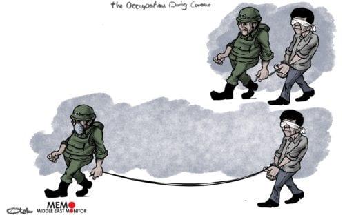 Israeli forces continue to arrest Palestinians despite coronavirus lockdown - Cartoon [Sabaaneh/MiddleEastMonitor]