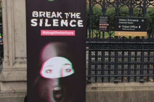 'Break the silence' campaign to support Emirati female prisoners by International Campaign for Freedom in the UAE, in August 2018 London, UK [Twitter]