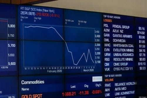 An electronic display of stocks is seen at the Australian Stock Exchange on March 10, 2020 in Sydney, Australia.The Australian sharemarket suffered one of its worst days, dropping 7.3 per cent and losing 136 billion in value as oil prices plummeted amid fears over the spread of coronavirus [Mark Evans/Getty Images]