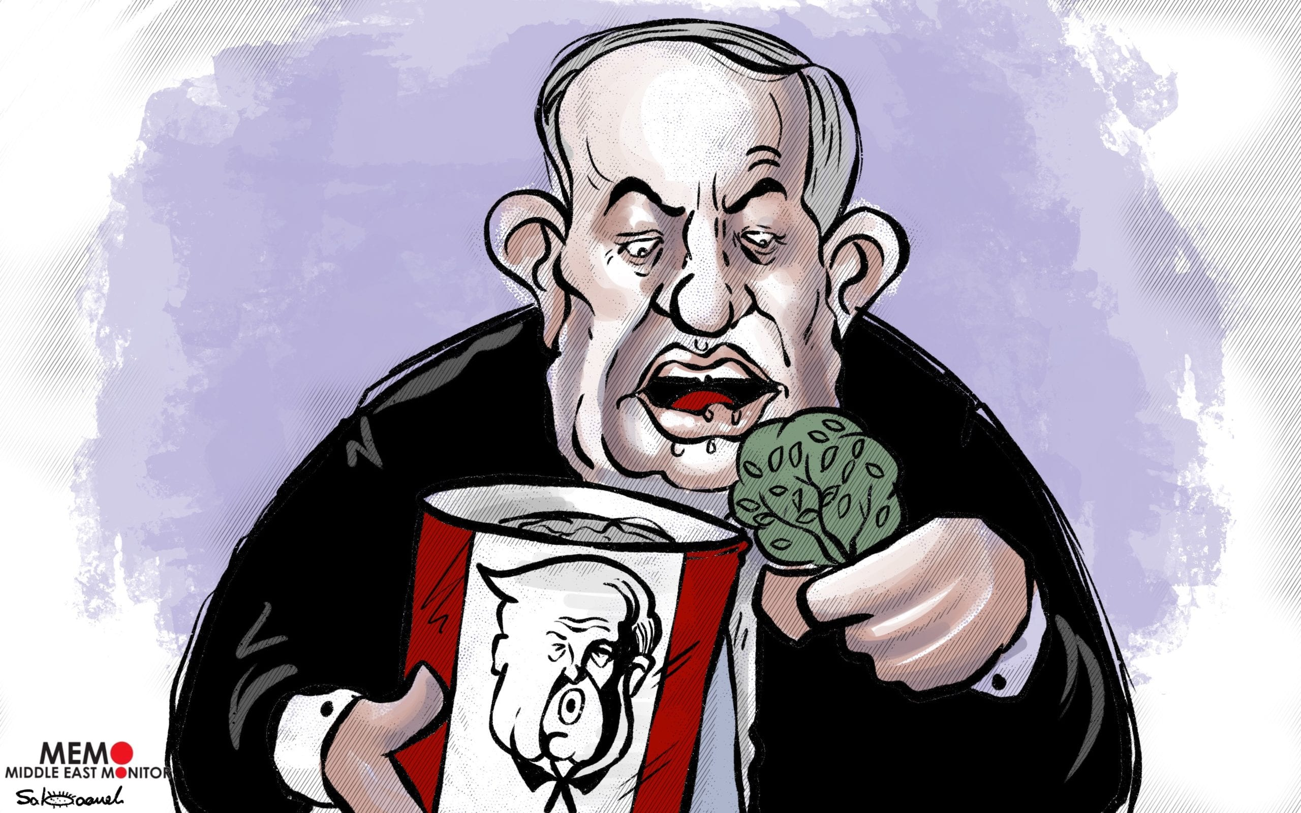 """""""I will not miss the opportunity to annex the West Bank""""- Cartoon [Sabaaneh/MiddleEastMonitor]"""