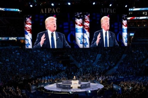 US President Donald Trump speaking at AIPAC, Washington DC, 21 March 2016 [Lorie Shaull/Flickr]