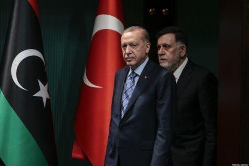 Turkish President Recep Tayyip Erdogan (L) and Libyan Prime Minister Fayez al-Sarraj (R) hold a joint press conference at Presidential Complex in Ankara, Turkey on 4 June 2020. [Metin Aktaş - Anadolu Agency]
