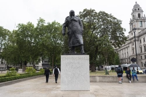 Statue of Winston Churchill in Parliament Square in London, UK on 10 June 2020 [Ray Tang/Anadolu Agency]