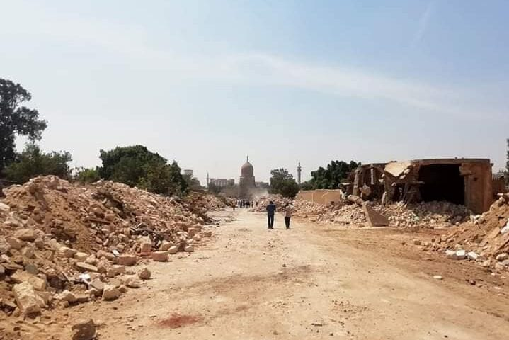 The Egyptian government yesterday denied reports that parts of the oldest Muslim cemetery in the country were being destroyed to make way for the construction of a new bridge [emad.mahran.3/Facebook]