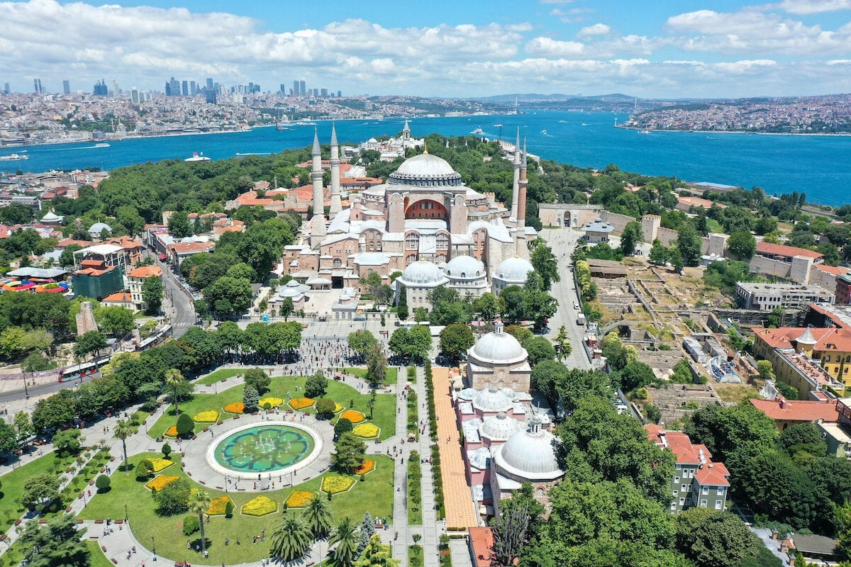 A drone photo shows the Ayasofya (Hagia Sophia) after the 10th Chamber of the Council of State's decision of the annulment of a 1934 Cabinet decision making Hagia Sophia – previously a mosque for nearly 500 years – into a museum, in Istanbul, Turkey on July 11, 2020. [Muhammed Enes Yıldırım - Anadolu Agency]