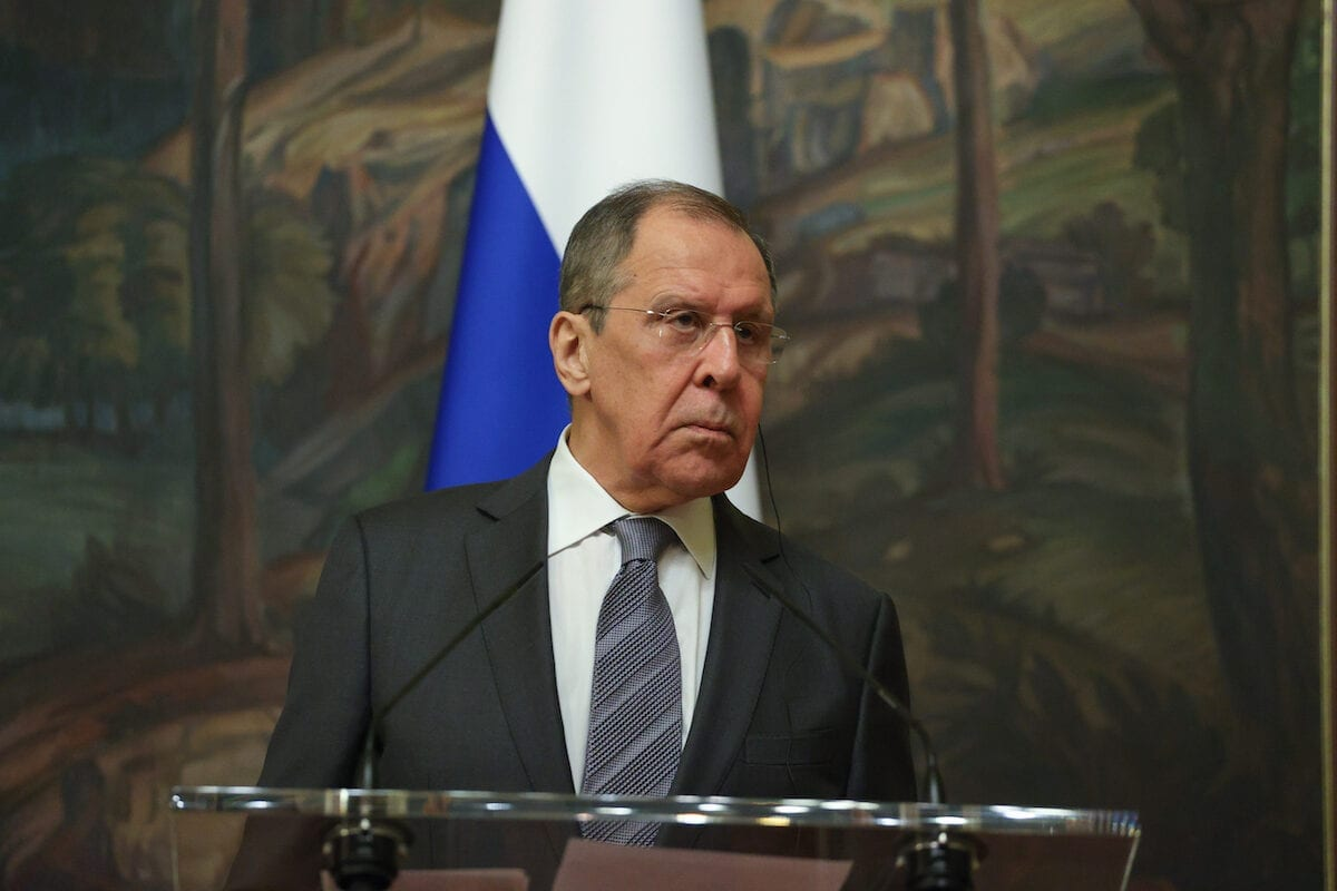 Russia's Foreign Minister Sergei Lavrov in Moscow, Russia on July 21, 2020 [Russian Foreign Ministry/Anadolu Agency]