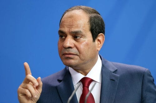 Egyptian President Abdel Fattah el-Sisi speaks during a news conference with German Chancellor Angela Merkel (unseen) on 3 June, 2015 in Berlin, Germany [Adam Berry/Getty Images]