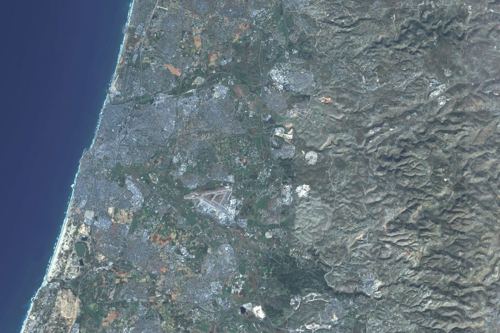 This is an enhanced Sentinel Satellite Image of Tel Aviv, Israel [Photo enhanced by maps4media via Getty Images]