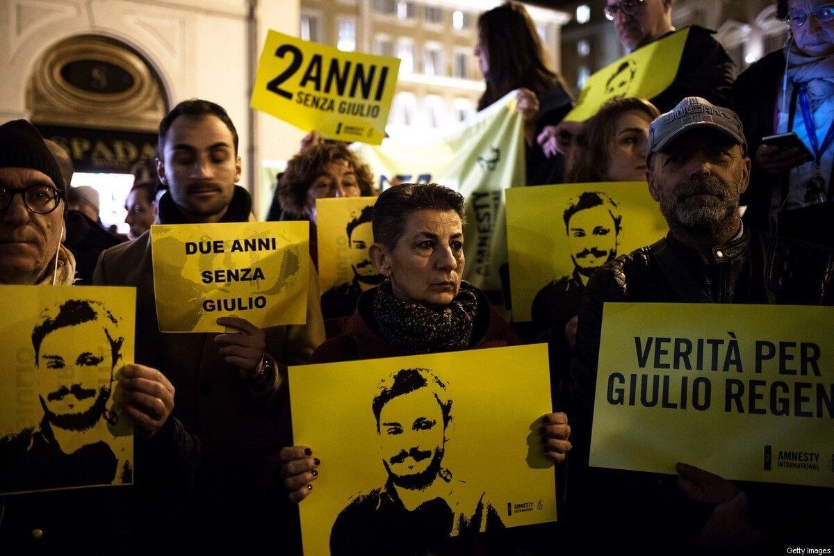 Candlelight procession for Italian student Giulio Regeni who was murdered in Egypt on 25 January 2018 [Antonio Masiello/Getty Images]