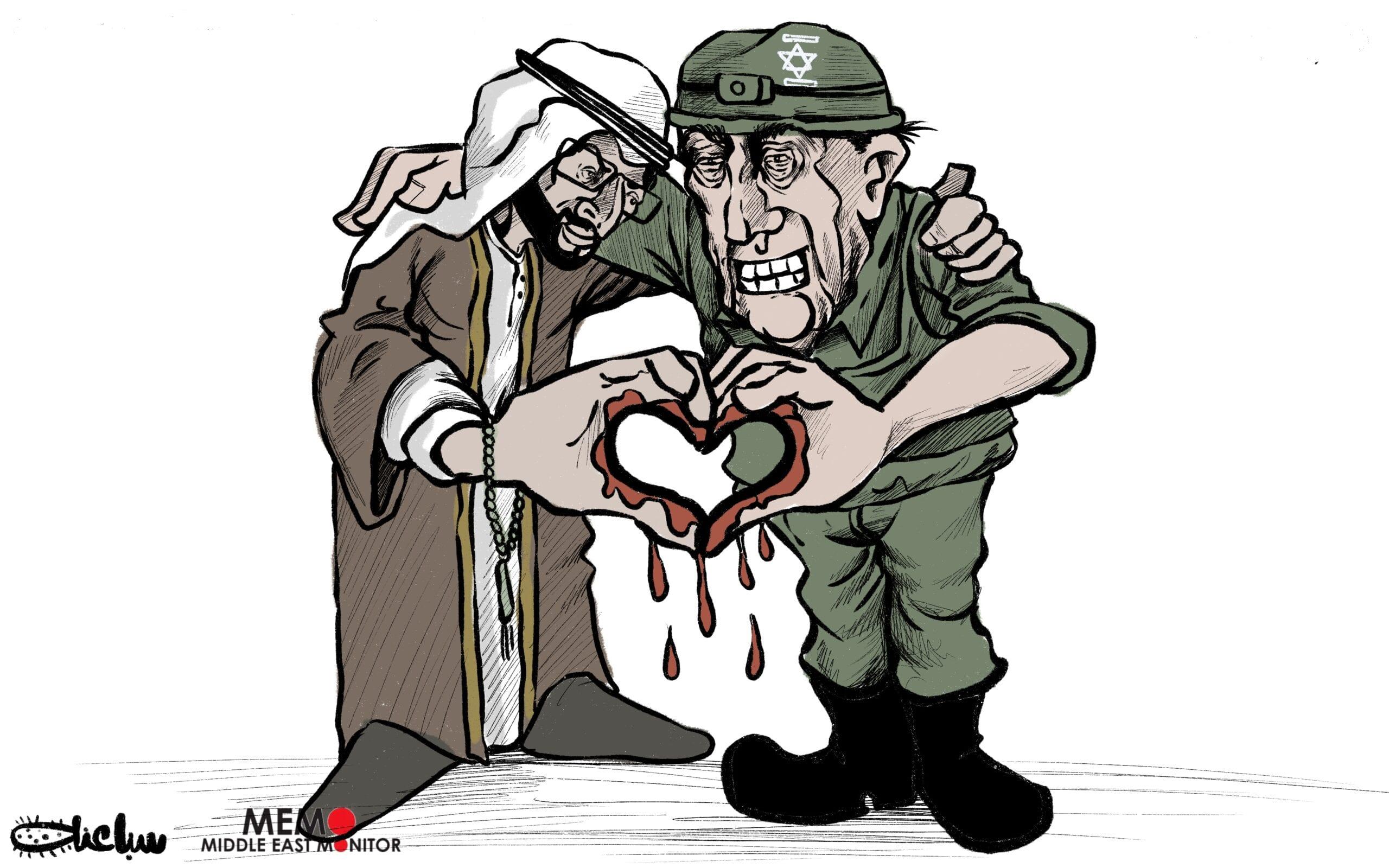The UAE normalise ties with Israel - Cartoon [Sabaaneh/MiddleEastMonitor]