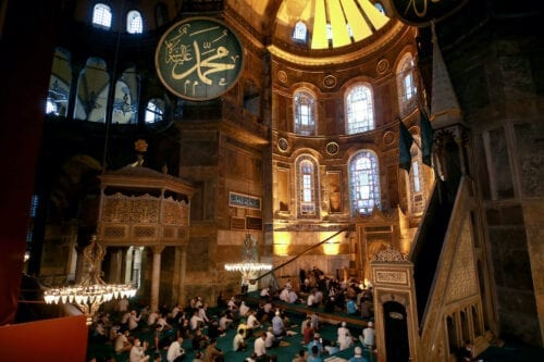 Muslims perform Eid al-Adha prayer while keeping social distance due to coronavirus (Covid-19) pandemic at Hagia Sophia Grand Mosque in Istanbul, Turkey on 31 July 2020. [ Ahmet Bolat - Anadolu Agency ]