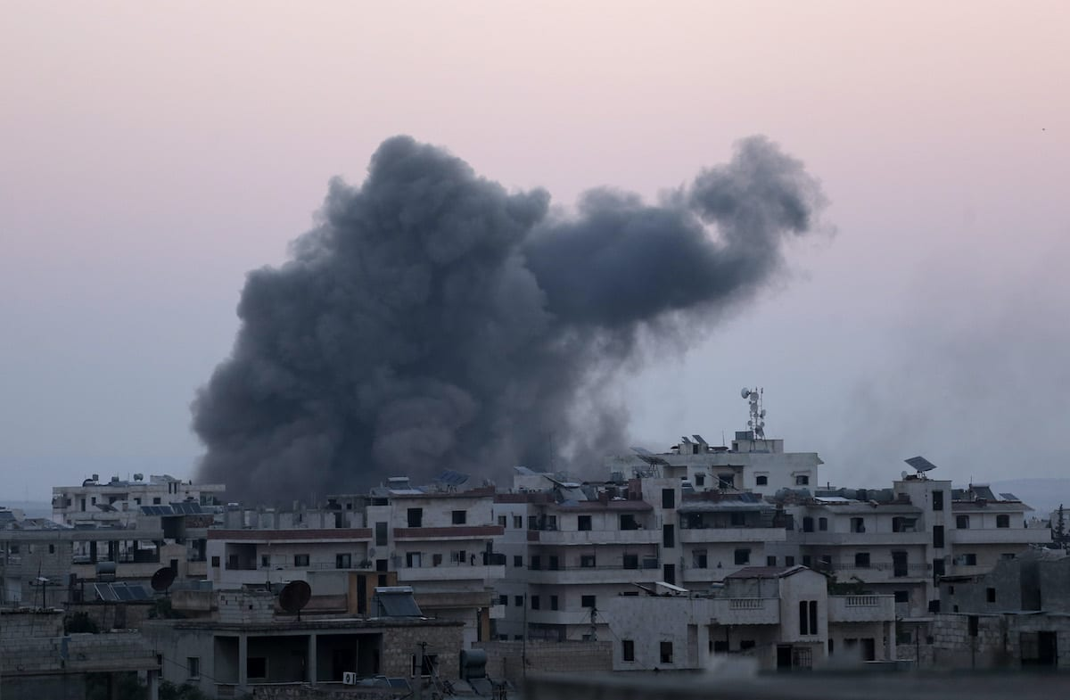 Smoke rises after war planes belonging to Assad Regime and Russia carried out airstrikes in Binnish town, northwestern Syria's Idlib de-escalation zone, on 3 August 2020. [Asaad Al Asaad - Anadolu Agency]