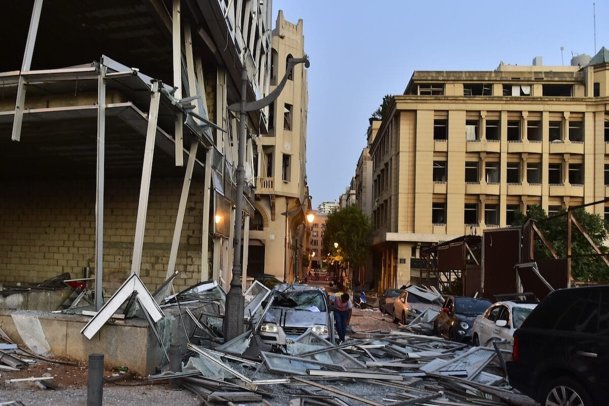 Damage to buildings after a fire at a warehouse with explosives at the Port of Beirut led to massive blast in Beirut, Lebanon on 5 August 2020 [Houssam Shbaro/Anadolu Agency]