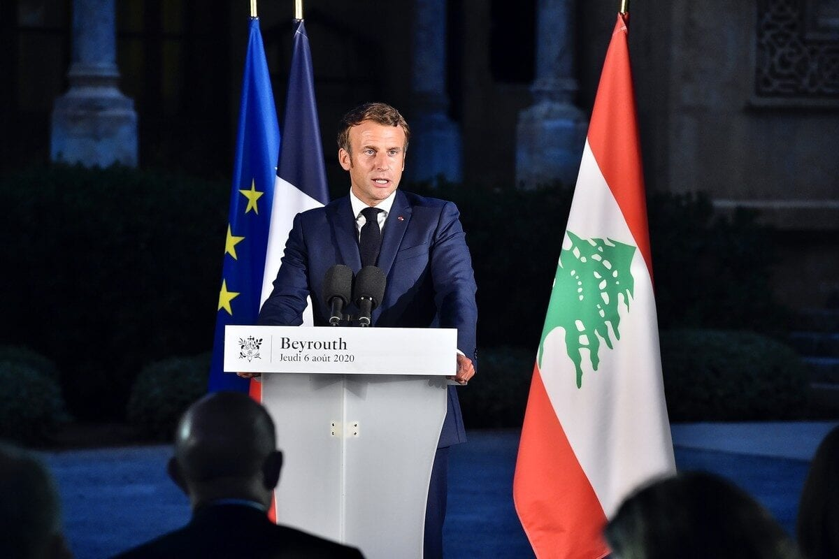 French President Emmanuel Macron speaks during a news conference at the Official residence of the French Embassy building in Beirut, Lebanon on August 06, 2020 [Lebanese Presidency / Handout - Anadolu Agency]