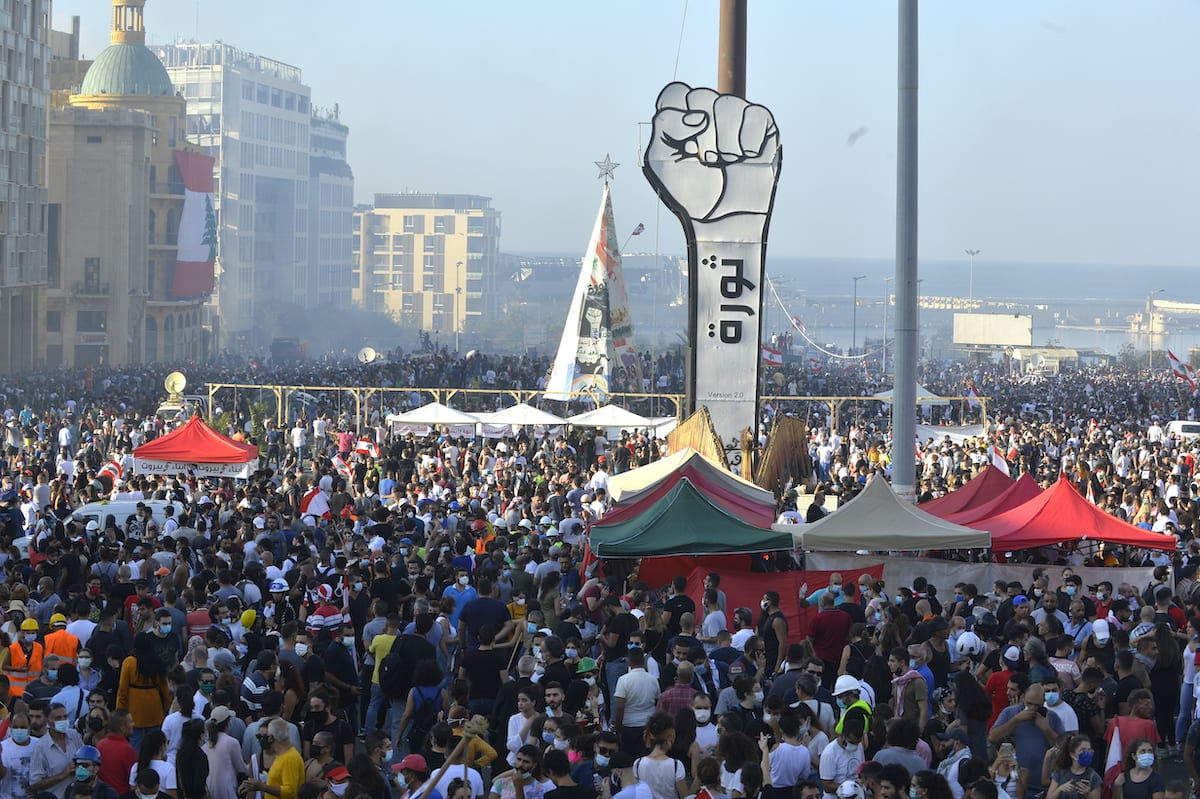Demonstrators gather for a protest against government at the Martyrs' Square after the deadly explosion at the Port of Beirut led to massive blasts on 4th August in Beirut, Lebanon on 8 August 2020. [Houssam Shbaro - Anadolu Agency]